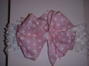 Med. Baby Pink/White Polka Dot Layered Side by Side Bow on Headband