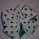 "Med. Kelly Green/White Polka Dot Layered ""Side by Side"" Bow on Headband"