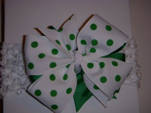 """Med. Kelly Green/White Polka Dot Layered """"Side by Side"""" Bow on Headband"""
