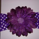 Large Grape Glitter Double Layer Flower on Headband