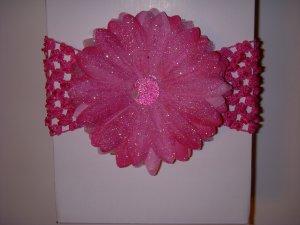 Large Hot Pink Glitter Single Layer Flower on Headband