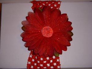 Large Cherry Red Glitter Single Layer Flower on Headband