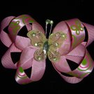 "Med. Mint Green/Chocolate/Tangerine ""Butterfly"" Layered Bow w/Butterfly Embellishment"