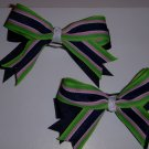Small Green/Hot Pink/Navy Preppy Stripe Layered Jenny Pigtail Bows (Set of 2)