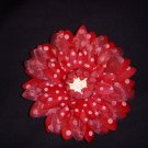 Large Cherry Red/White Polka Dot Triple Layer Flower Clip
