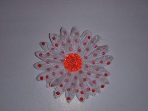 Med. White/Cherry Red Polka Dot Single Layer Flower Clip