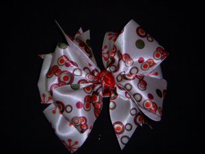 Med. Christmas Circles/White w/Red Snowflakes Layered Side by Side Bow