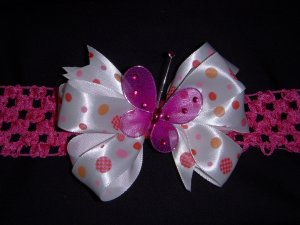 Med. White/Pink Layered Side by Side Bow w/Butterfly Embellishment on Headband