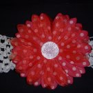 Large Cherry Red/White Polka Dot Single Layer Flower on Headband