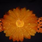 Large Tangerine Glitter Single Layer Flower on Headband
