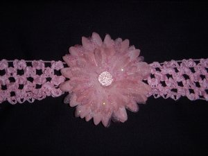 Med. Baby Pink Glitter Double Layer Flower on Headband