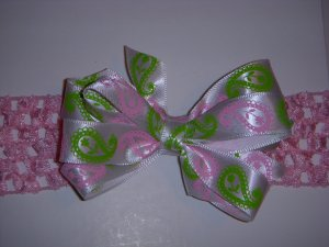 Small White/Hot Pink/Electric Green Paisley Layered Side by Side Bow on Headband
