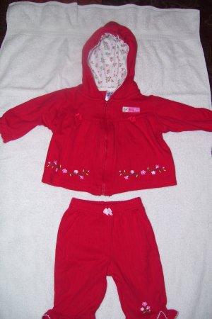 2pc. Red Hooded Outfit