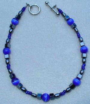 OOAK Hand Made Hematite & Blue Cats Eye Beaded Bracelet
