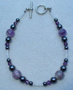 OOAK Hand Made Hematite & Amethyst Beaded Bracelet.