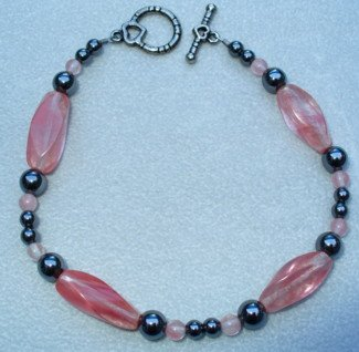OOAK Hand Made Hematite & Cherry Quarts Beaded Bracelet
