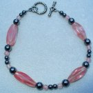 OOAK Hand Made Hematite & Cherry Quarts Beaded Bracelet