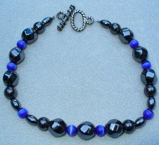 OOAK Hand Made Hematite & Blue Cats Eye Beaded Bracelet  / Anklet
