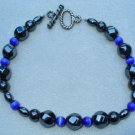 OOAK Hand Made Hematite & Blue Cats Eye Beaded Bracelet  / Anklet