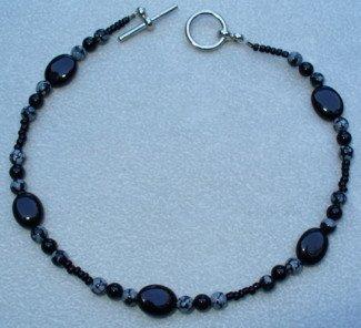 OOAK Hand Made Black Onyx & Snowflake Obsidian Beaded Bracelet / Anklet