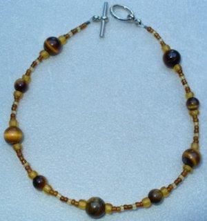 OOAK Hand Made Tigers Eye & Brown Beaded Bracelet / Anklet