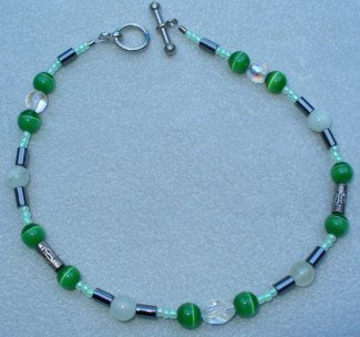 OOAK Hand Made Jade & Green Cats Eye Beaded Bracelet / Anklet