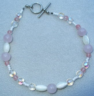 OOAK Hand Made Rose Quartz & Mother of Pearl Beaded Bracelet / Anklet