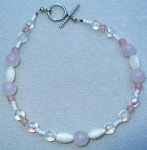 OOAK Hand Made Rose Quartz & Mother of Pearl Beaded Bracelet / Anklet