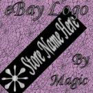Shiny Silver Art Deco Star on Black Customized eBay Store Logo 310 X 90 #L062