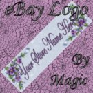 Purple Flowers Blue Ribbon Customized eBay Store Logo 310 X 90 #L080