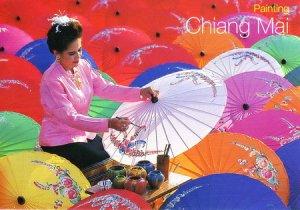 Umbrellas Painting Thailand Postcard
