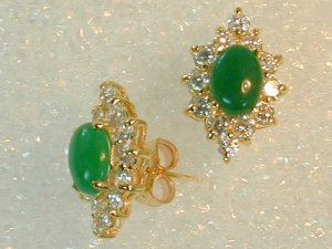 2 ct Fine Burmese Jade Earrings with cz in this fine gold setting.