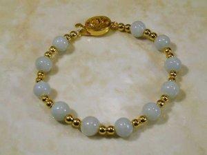 Burmese jade light lavender and 14K gf bracelet