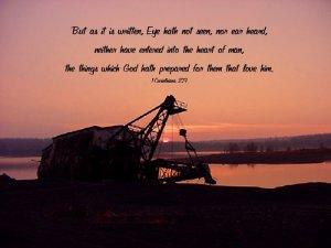 "Mining Dredge ""8x10"" Framed Art--1Corinth 2:9"