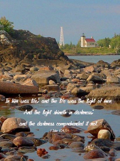 """Lighthouse**8""""x10""""**Framed Art***1John 1: 4,5"""