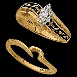 14K Yellow Gold Religious Bridal Diamond Ring