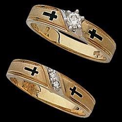 14K Yellow Gold Religious Bridal Set W/Diamond