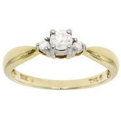 New 1/4 Carat Diamond Gold 3 Stone Anniversary Ring