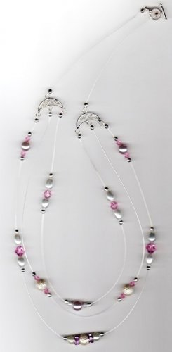 Swarovski Crystal & Pink Pearl Illusion Handmade Necklace