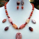Jasper & Carnelian Necklace, Bracelet & Earring set-Handmade