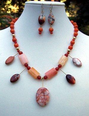 Jasper & Carnelian Necklace, Bracelet & Earring set-Handmade