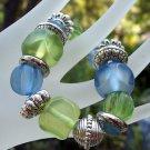 Acrylic Blues & Greens Stretch Bracelet