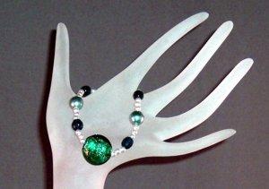 Green Foil Glass & Pearl Bracelet Handmade