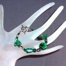 Green Foiled Glass Bracelet Handmade