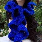 Deep Blue Chenille Ruffle Handmade Crochet Scarf