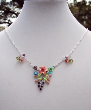 Swarovski Crystal Spring Flowers Necklace