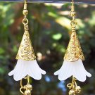 White & Gold Acrylic Flower Earrings Handmade