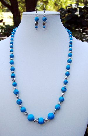 Turquoise & Silver Necklace & Earring Set- Handmade