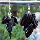 Black Glass Leaves Earrings-Handmade
