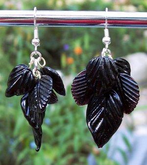Black Glass Leaves Earrings-Handmade